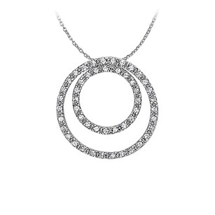 LoveBrightJewelry Marvellous Cubic Zirconia Double Circle Pendant in Sterling Silver