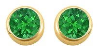 LoveBrightJewelry May Birthstone Emerald Bezel Stud Earrings 18K Yellow Gold Vermeil over Silver