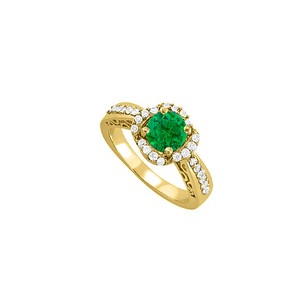 LoveBrightJewelry May Birthstone Emerald Cubic Zirconia Yellow Gold Vermeil Filigree Engagement Ring Unique Design
