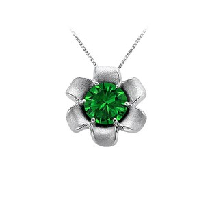 LoveBrightJewelry May Birthstone Emerald Flower Pendant in 14K White Gold