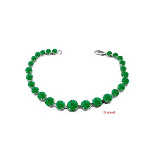 LoveBrightJewelry May Birthstone Prong Set Emerald Bracelet in Sterling Silver