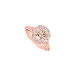 LoveBrightJewelry Morganite And April Birthstone Cubic Zirconia Halo Engagement Ring In 14k Rose Gold Top Design
