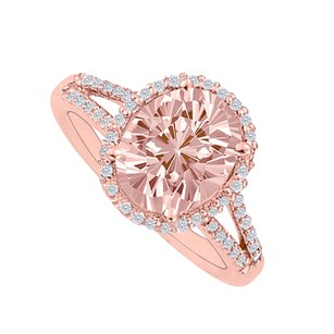 LoveBrightJewelry Morganite And Cz Split Shank Halo Engagement Ring