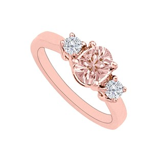 LoveBrightJewelry Morganite And Diamonds Three Stone Engagement Ring