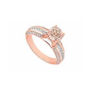 LoveBrightJewelry Morganite And Three Rows Of Cubic Zirconia In 14k Rose Gold Vermeil Engagement Ring Jewelry Gift