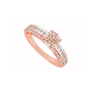 LoveBrightJewelry Morganite And Three Rows Of Czs In 14k Rose Gold Engagement Ring Cool Design At Fab Price