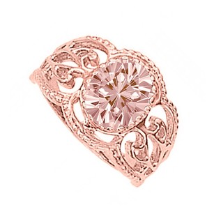 LoveBrightJewelry Morganite Filigree Rose Gold Vermeil Engagement Ring