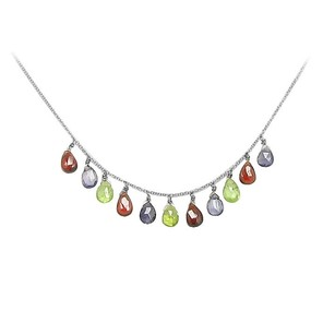 LoveBrightJewelry Multicolor Gemstone Necklace 14K White Gold 7.00 CT TGW