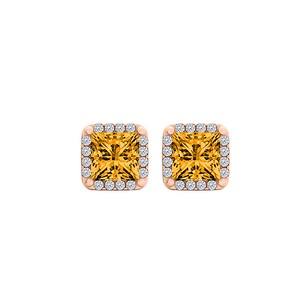 LoveBrightJewelry Natural Citrine CZ 14K Rose Gold Vermeil Stud Earrings