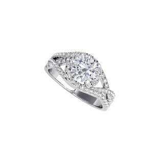 LoveBrightJewelry Natural Diamond Criss Cross Ring in 14K White Gold