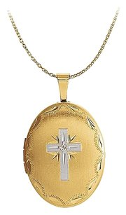 LoveBrightJewelry Natural Diamond Oval Cross Locket Two Tone Gold Vermeil