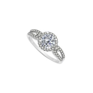 LoveBrightJewelry Natural Diamonds Halo Engagement Ring 14k White Gold