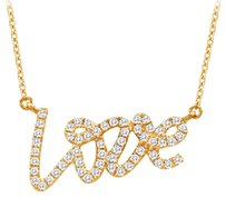 LoveBrightJewelry New Love Cubic Zirconia Pendant Necklaces in 18K Yellow Gold Vermeil 0.33 CT TGW