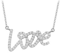 LoveBrightJewelry New Love Cubic Zirconia Pendant Necklaces in 925 Sterling Silver 0.33 CT TGW