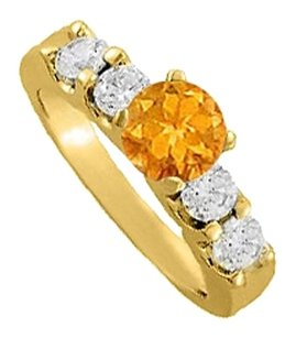 LoveBrightJewelry November Birthstone Citrine and CZ Elegant Engagement Ring Yellow Gold Vermeil Economical Price
