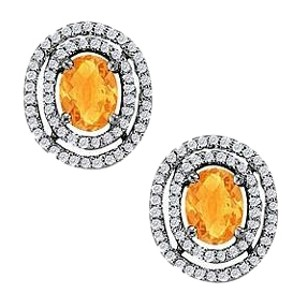 LoveBrightJewelry November Birthstone Citrine Earrings with CZ in 14K White Gold