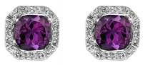 LoveBrightJewelry Octagon Cut Amethyst Bezel Set and Round CZ Earrings