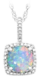 LoveBrightJewelry October Birthstone Created Opal Pendant with Diamond in 925 Sterling Silver 1.50 CT TGW