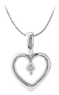 LoveBrightJewelry Open Heart Solitaire Diamond Pendant in 14K White Gold