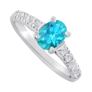 LoveBrightJewelry Oval Blue Topaz And Cz Accent Ring Sterling Silver