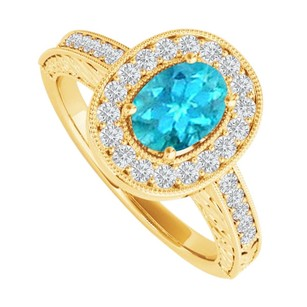 LoveBrightJewelry Oval Blue Topaz And Cz Halo Engagement Ring 2 Ct Tgw