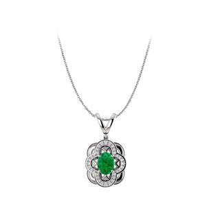 LoveBrightJewelry Oval Emerald and Cubic Zirconia Pendant in 925 Silver
