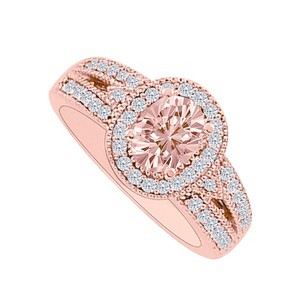 LoveBrightJewelry Oval Morganite With Diamonds Halo Engagement Ring