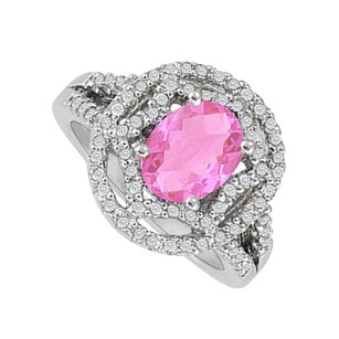 LoveBrightJewelry Oval Pink Sapphire And Cz Designer Engagement Ring