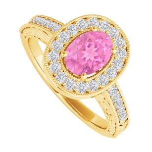 LoveBrightJewelry Oval Pink Sapphire And Cz Halo Engagement Ring Vermeil