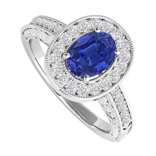 LoveBrightJewelry Oval Sapphire And Cz Engagement Ring 2 Ct Tgw