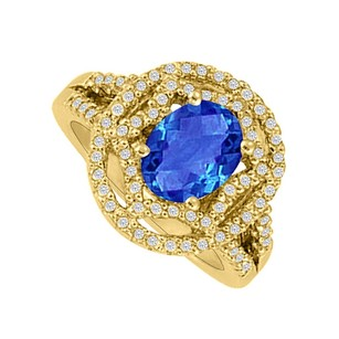 LoveBrightJewelry Oval Sapphire Cz Designer Engagement Ring In Vermeil