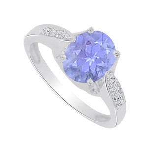 LoveBrightJewelry Oval Tanzanite And Cz Solitaire Ring In Sterling Silver
