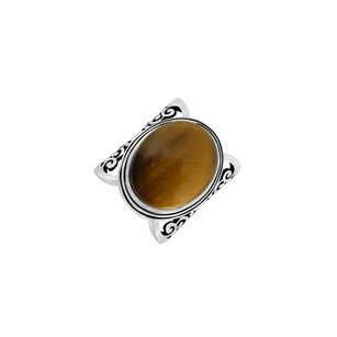 LoveBrightJewelry Oval Tiger Eye Stone 925 Sterling Silver Fashion Ring