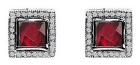 LoveBrightJewelry Passionate Red Square Garnet CZ Stud Earrings Silver