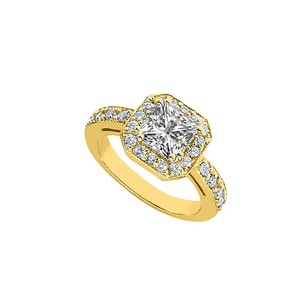 LoveBrightJewelry Perfect Cubic Zirconia Engagement Ring 14k Yellow Gold