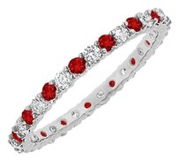 LoveBrightJewelry Perfect Gifting For 15th Anniversary Ruby and CZ Bangle