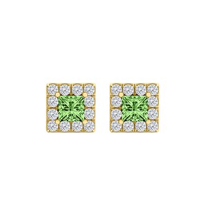LoveBrightJewelry Perfect Square CZ Peridot Halo Stud Earrings Vermeil