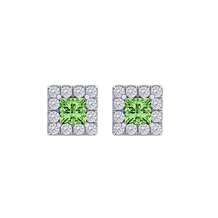 LoveBrightJewelry Perfect Square Peridot and CZ Halo Stud Earrings Silver
