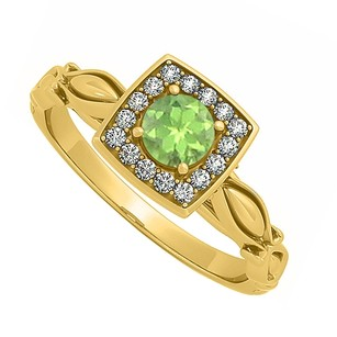LoveBrightJewelry Peridot And Cz Engagement Ring In Yellow Gold Vermeil