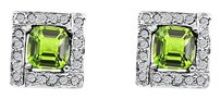 LoveBrightJewelry Peridot and CZ Square Design Earrings in 925 Silver