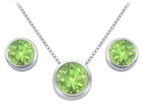 LoveBrightJewelry Peridot Pendant and Stud Earrings Set in Sterling Silver 2.00 CT TGW