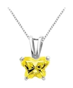 LoveBrightJewelry Petite Baby Charm Butterfly Design Yellow CZ in Sterling Silver Necklace for November Birthstone
