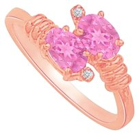 LoveBrightJewelry Pink Sapphire and CZ Designer Ring in Rose Gold Vermeil