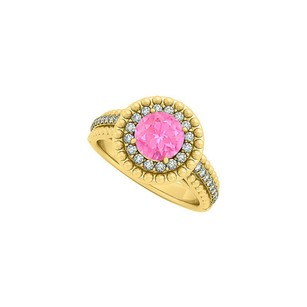 LoveBrightJewelry Pink Sapphire And Cz Halo Engagement Ring In Yellow Gold Vermeil With Interesting Design