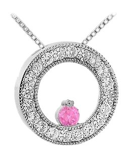 LoveBrightJewelry Pink Sapphire and Diamond Circle Pendant 14K White Gold 1.00 CT TGW