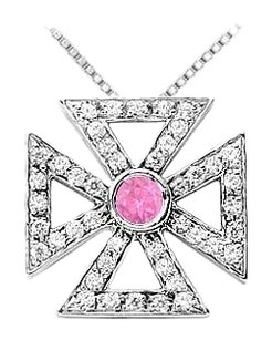 LoveBrightJewelry Pink Sapphire and Diamond Maltese Cross Pendant White Gold 0.75 CT TGW