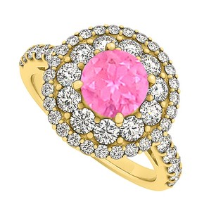 LoveBrightJewelry Pink Sapphire Cubic Zirconia Engagement Ring 2.00 Tgw