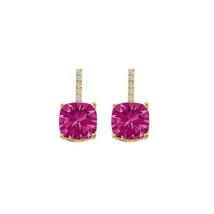 LoveBrightJewelry Pink Sapphire CZ Drop Style Stud Earrings Gold Vermeil