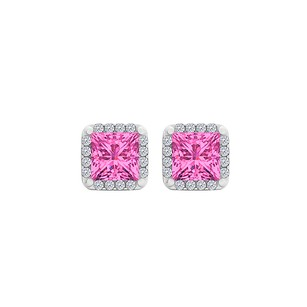 LoveBrightJewelry Pink Sapphire CZ Square Halo Stud Earrings 925 Silver