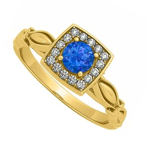 LoveBrightJewelry Pretty Sapphire And Cubic Zirconia Engagement Ring